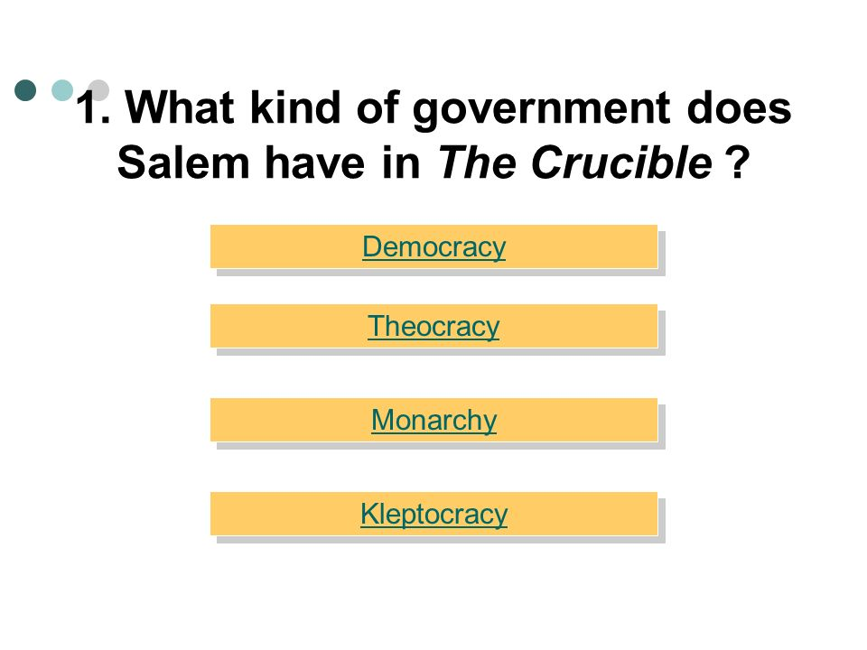 1.What kind of government does Salem have in The Crucible .