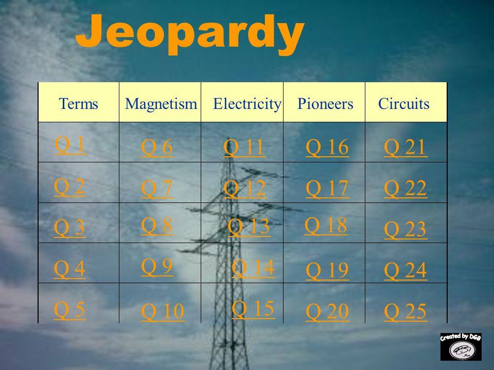 Jeopardy Q 1 Q 2 Q 3 Q 4 Q 5 Q 6Q 16Q 11Q 21 Q 7Q 12Q 17Q 22 Q 8 Q 13 Q 18 Q 23 Q 9 Q 14 Q 19Q 24 Q 10 Q 15 Q 20Q 25 MagnetismTermsElectricityPioneersCircuits