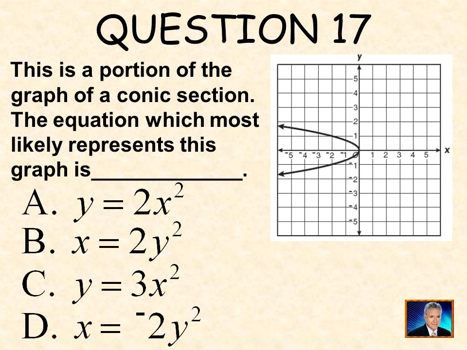 QUESTION 17 This is a portion of the graph of a conic section. The equation which most likely represents this graph is_____________.