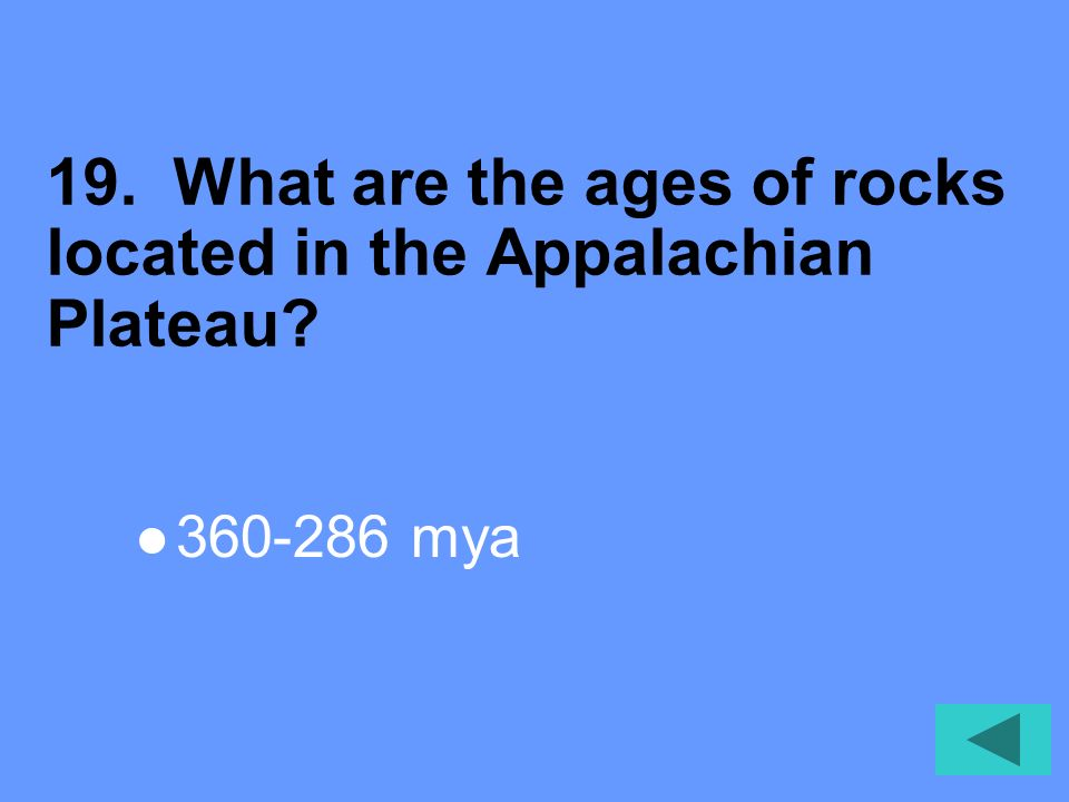 18. What are the types of rocks located in the Appalachian Plateau Sediment
