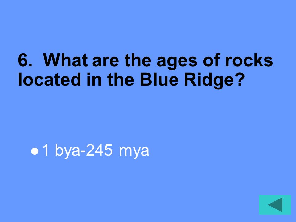 5. What are the types of rocks located in the Blue Ridge Igneous Metamorphic