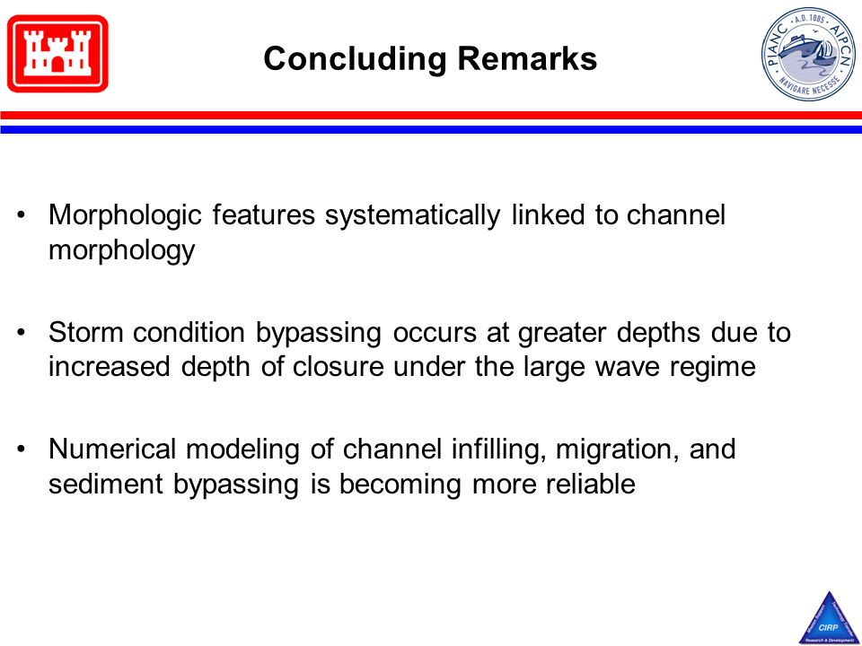 Concluding Remarks Morphologic features systematically linked to channel morphology Storm condition bypassing occurs at greater depths due to increased depth of closure under the large wave regime Numerical modeling of channel infilling, migration, and sediment bypassing is becoming more reliable