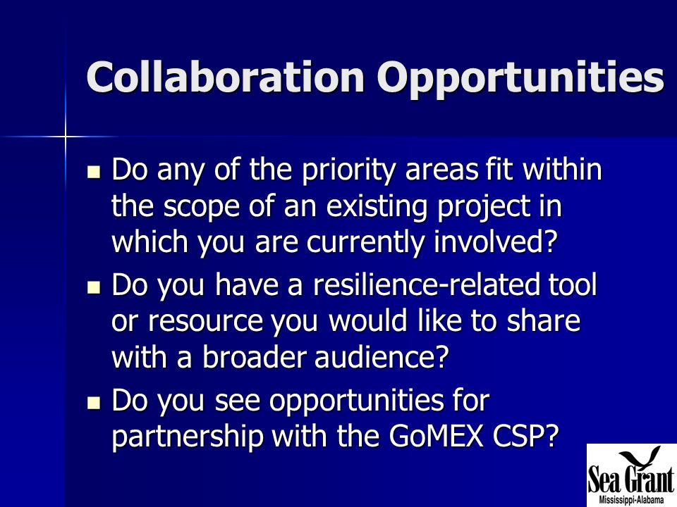 Collaboration Opportunities Do any of the priority areas fit within the scope of an existing project in which you are currently involved.