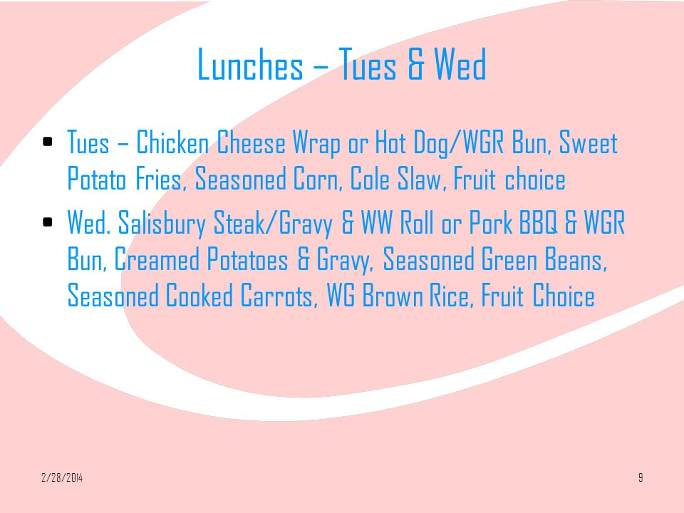 2/28/201410 Lunches – Thurs & Friday Thurs.
