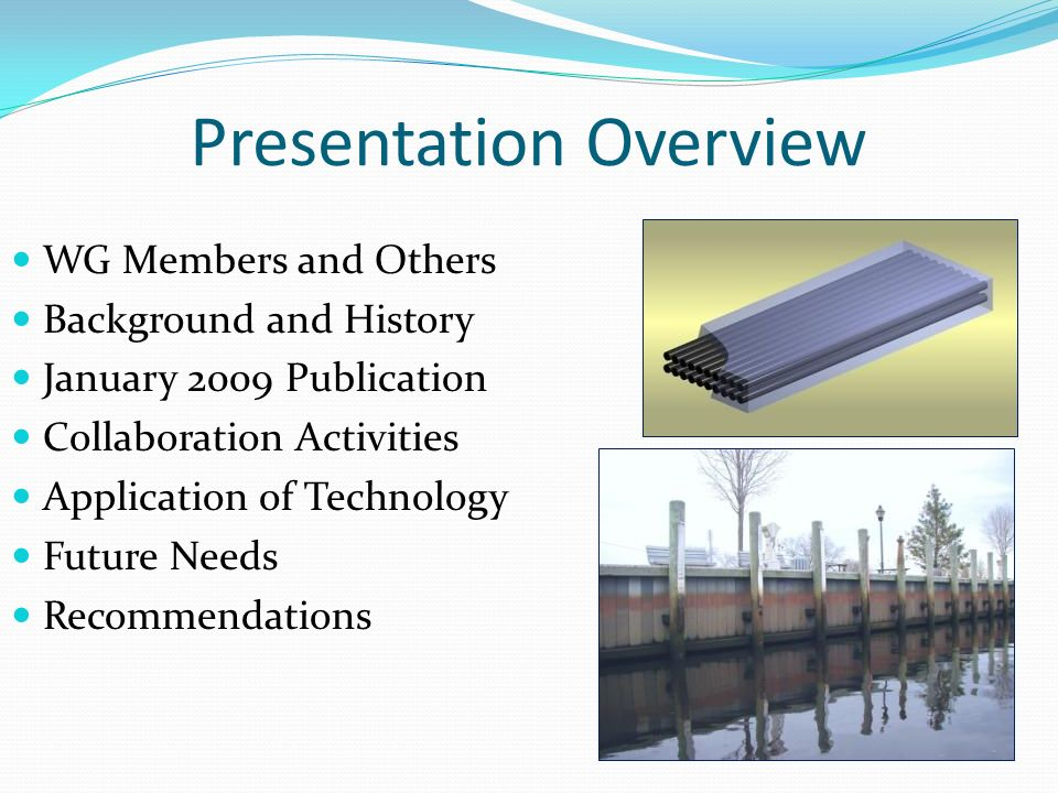 Presentation Overview WG Members and Others Background and History January 2009 Publication Collaboration Activities Application of Technology Future