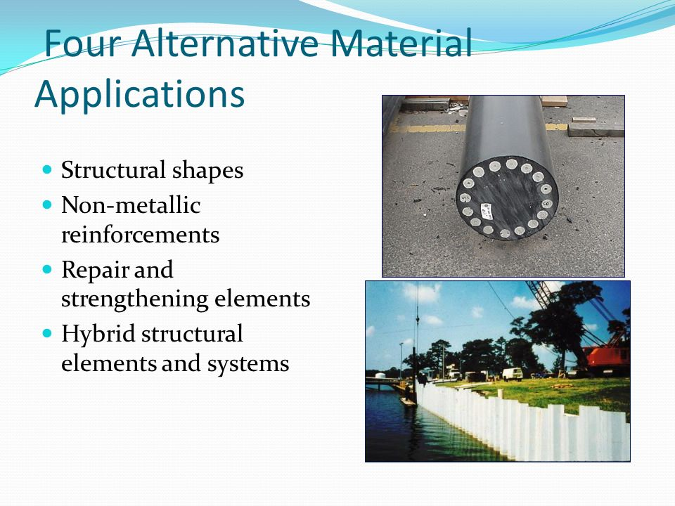 Four Alternative Material Applications Structural shapes Non-metallic reinforcements Repair and strengthening elements Hybrid structural elements and