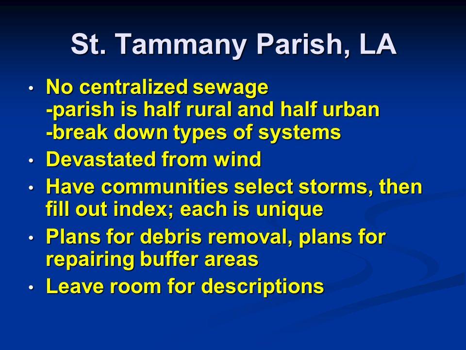 St. Tammany Parish, LA No centralized sewage -parish is half rural and half urban -break down types of systems No centralized sewage -parish is half r