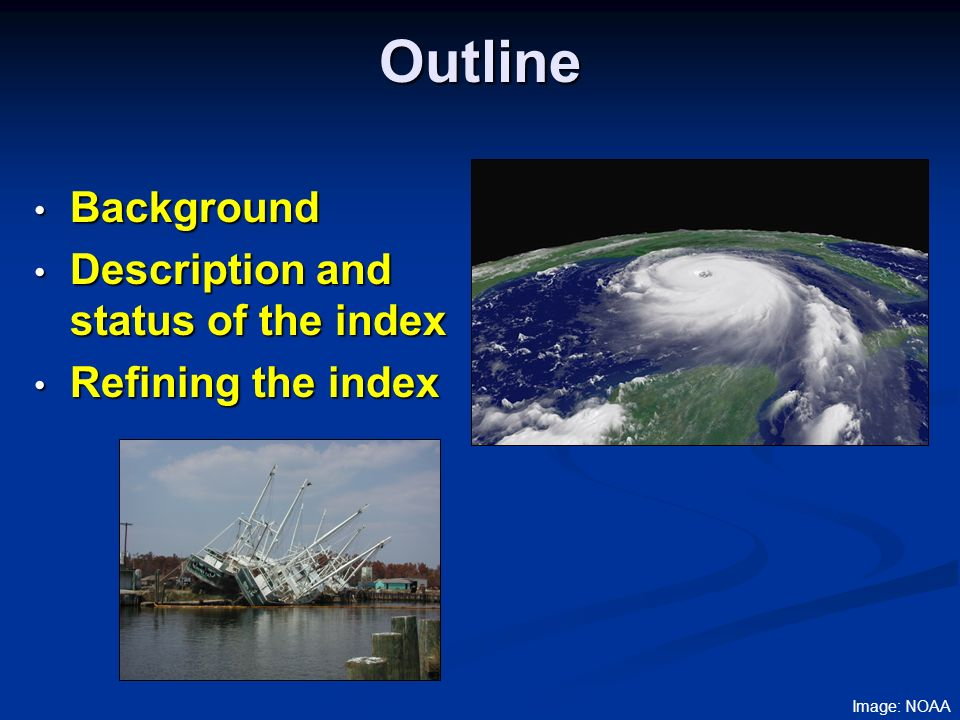 Origins of the Index Gulf of Mexico Alliance Address regional issues that cross state boundaries Address regional issues that cross state boundaries Partnerships Partnerships State, federal, local governments State, federal, local governments Academia Academia Non-profit organizations Non-profit organizations Others Others Plan released in March 2006 Five priority issue areas Environmental Education Habitat ID Nutrients Restoration Water Quality