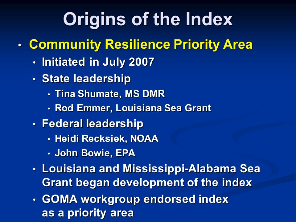 Purpose of the Index Provide a simple, inexpensive method for community leaders to perform a self- assessment of their communitys resilience to coastal hazards Provide a simple, inexpensive method for community leaders to perform a self- assessment of their communitys resilience to coastal hazards Identify weaknesses a community may want to address prior to the next hazard event Identify weaknesses a community may want to address prior to the next hazard event For use within a community, not for comparison between communities For use within a community, not for comparison between communities