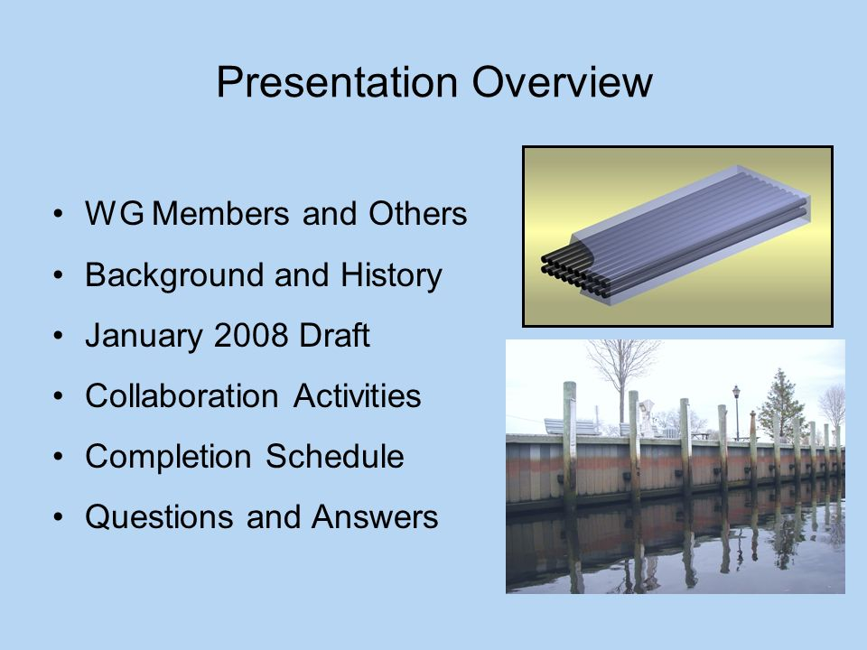 Presentation Overview WG Members and Others Background and History January 2008 Draft Collaboration Activities Completion Schedule Questions and Answers
