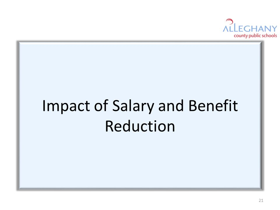 Impact of Salary and Benefit Reduction 21
