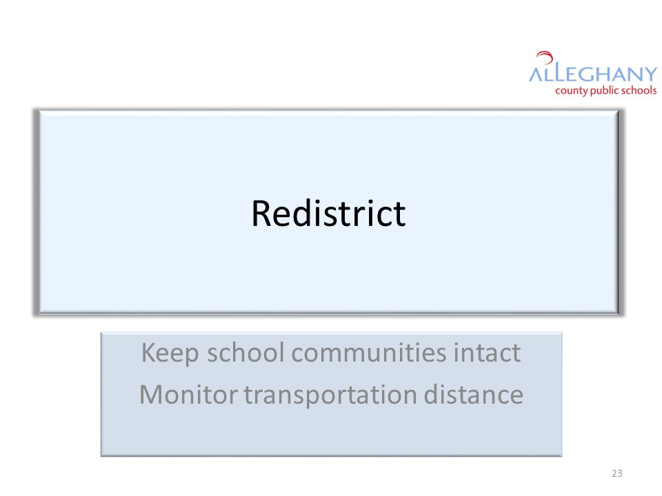 Redistrict Keep school communities intact Monitor transportation distance 23