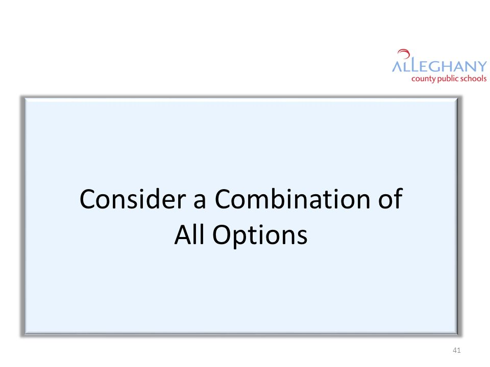 Consider a Combination of All Options 41