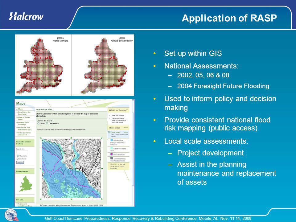 Gulf Coast Hurricane Preparedness, Response, Recovery & Rebuilding Conference. Mobile, AL. Nov. 11-14, 2008 Application of RASP Set-up within GIS Nati