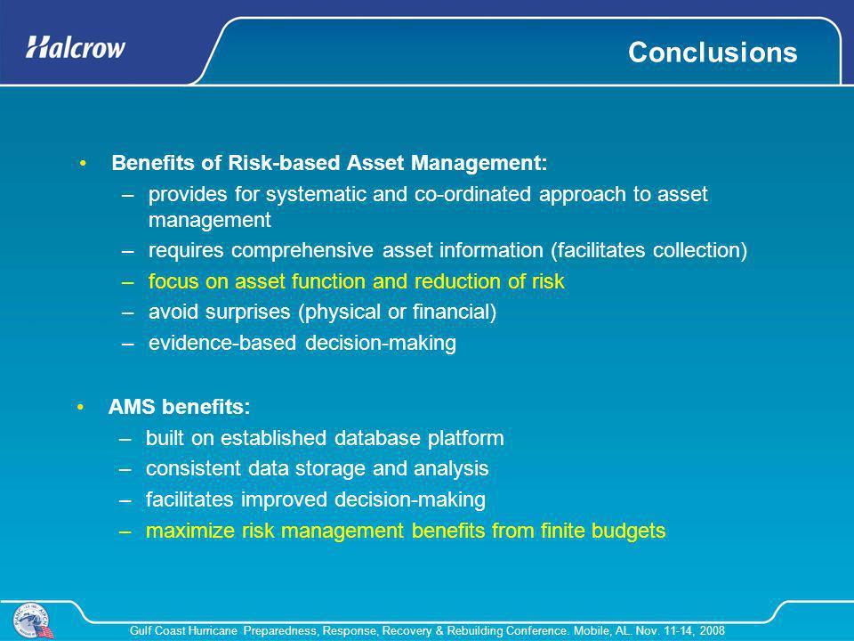 Gulf Coast Hurricane Preparedness, Response, Recovery & Rebuilding Conference. Mobile, AL. Nov. 11-14, 2008 Benefits of Risk-based Asset Management: –