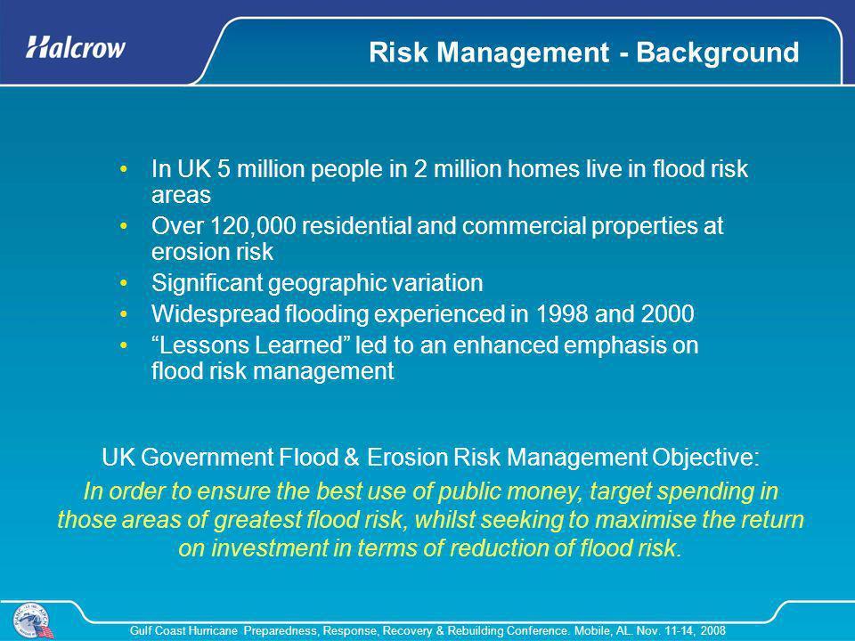 Gulf Coast Hurricane Preparedness, Response, Recovery & Rebuilding Conference. Mobile, AL. Nov. 11-14, 2008 Risk Management - Background In UK 5 milli
