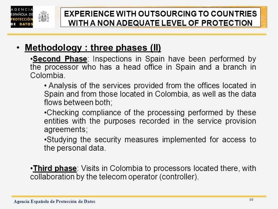 10 Agencia Española de Protección de Datos EXPERIENCE WITH OUTSOURCING TO NON ADEQUATE COUNTRIES Methodology : three phases (II) econd PhaseSecond Phase: Inspections in Spain have been performed by the processor who has a head office in Spain and a branch in Colombia.