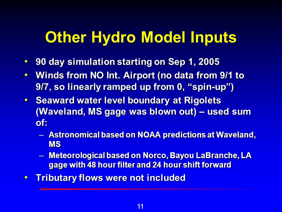 11 Other Hydro Model Inputs 90 day simulation starting on Sep 1, 2005 90 day simulation starting on Sep 1, 2005 Winds from NO Int.