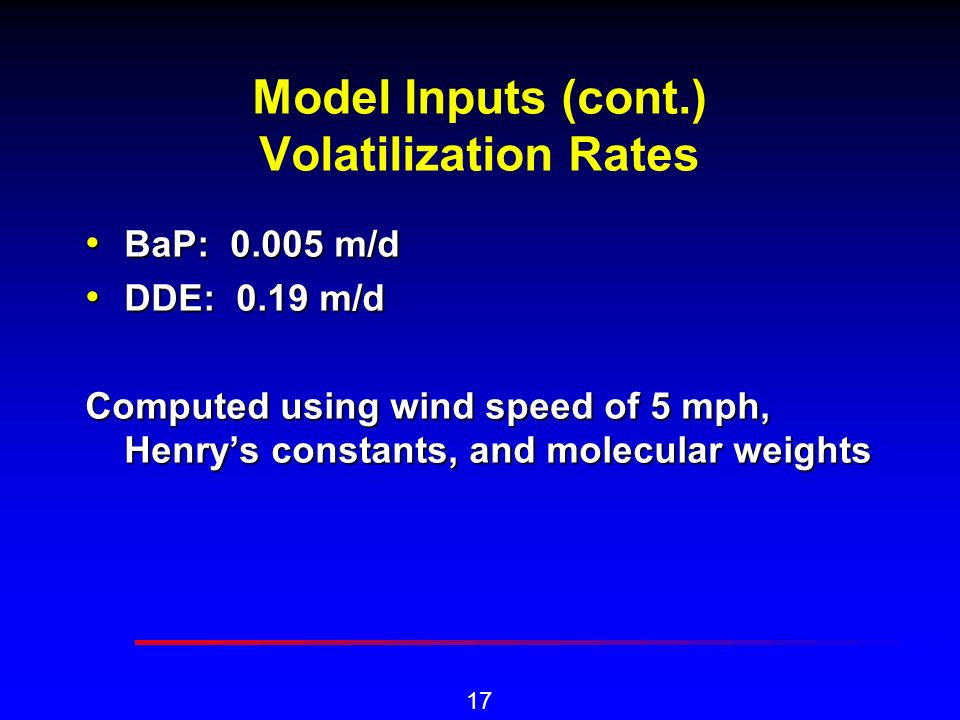 17 Model Inputs (cont.) Volatilization Rates BaP: 0.005 m/d BaP: 0.005 m/d DDE: 0.19 m/d DDE: 0.19 m/d Computed using wind speed of 5 mph, Henrys constants, and molecular weights