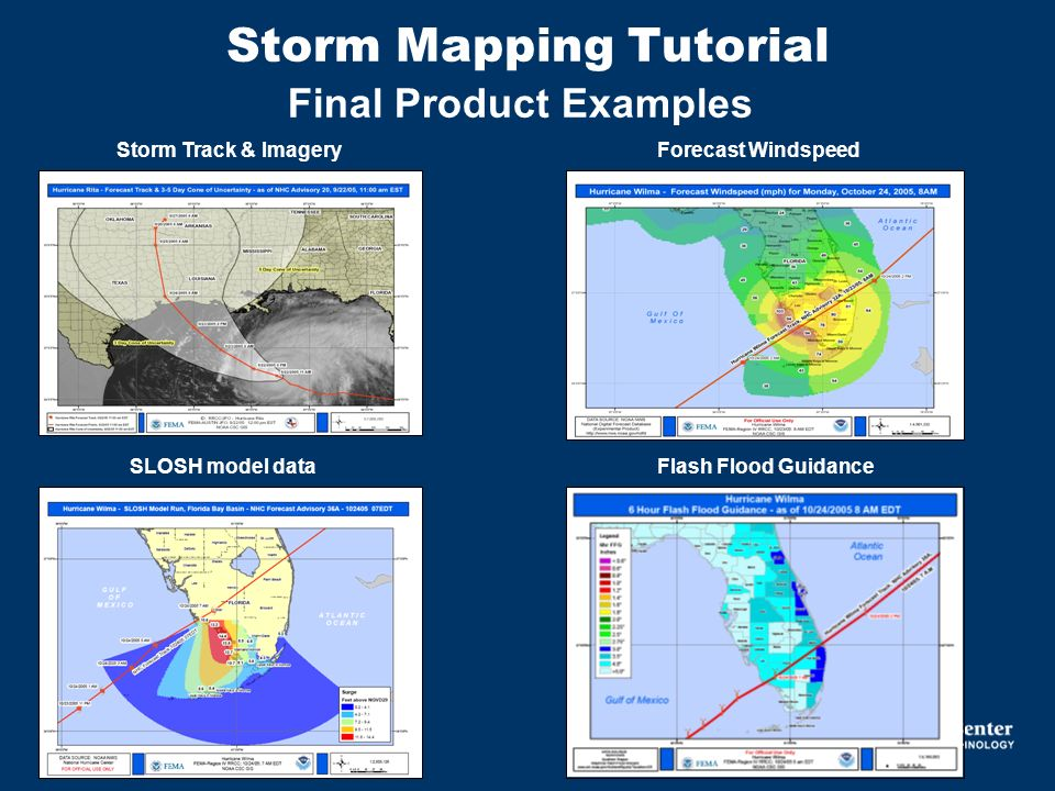 Storm Mapping Tutorial Final Product Examples Storm Track & ImageryForecast Windspeed SLOSH model dataFlash Flood Guidance