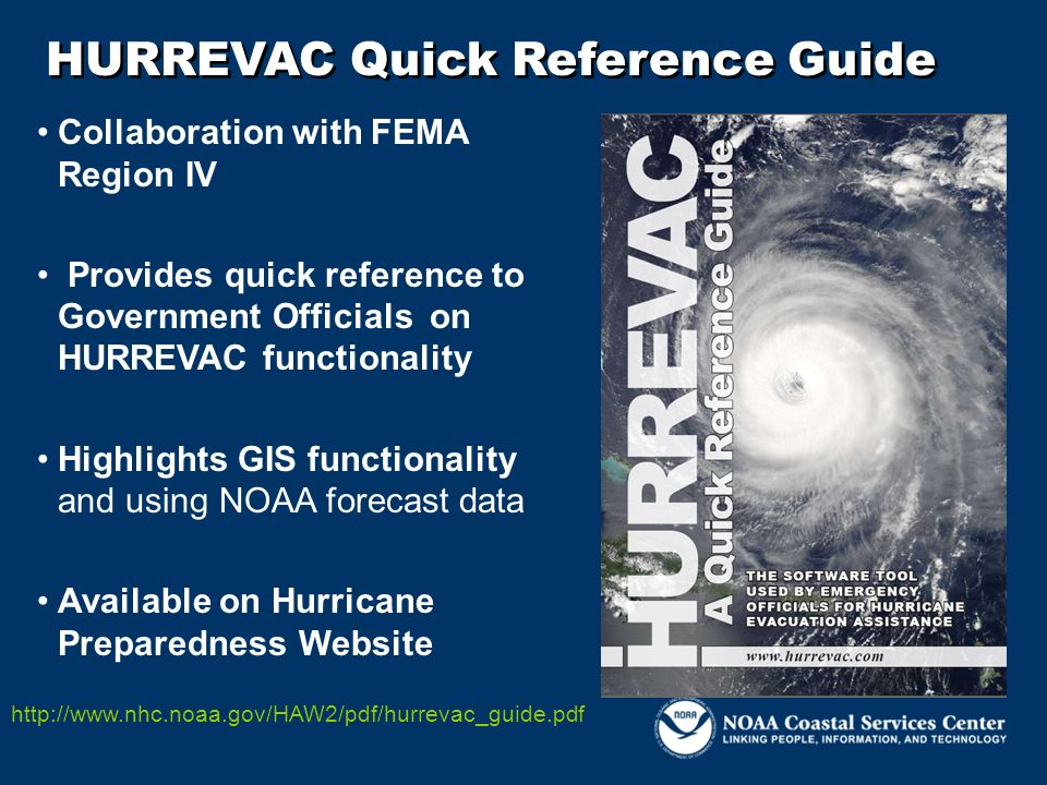 HURREVAC Quick Reference Guide Collaboration with FEMA Region IV Provides quick reference to Government Officials on HURREVAC functionality Highlights
