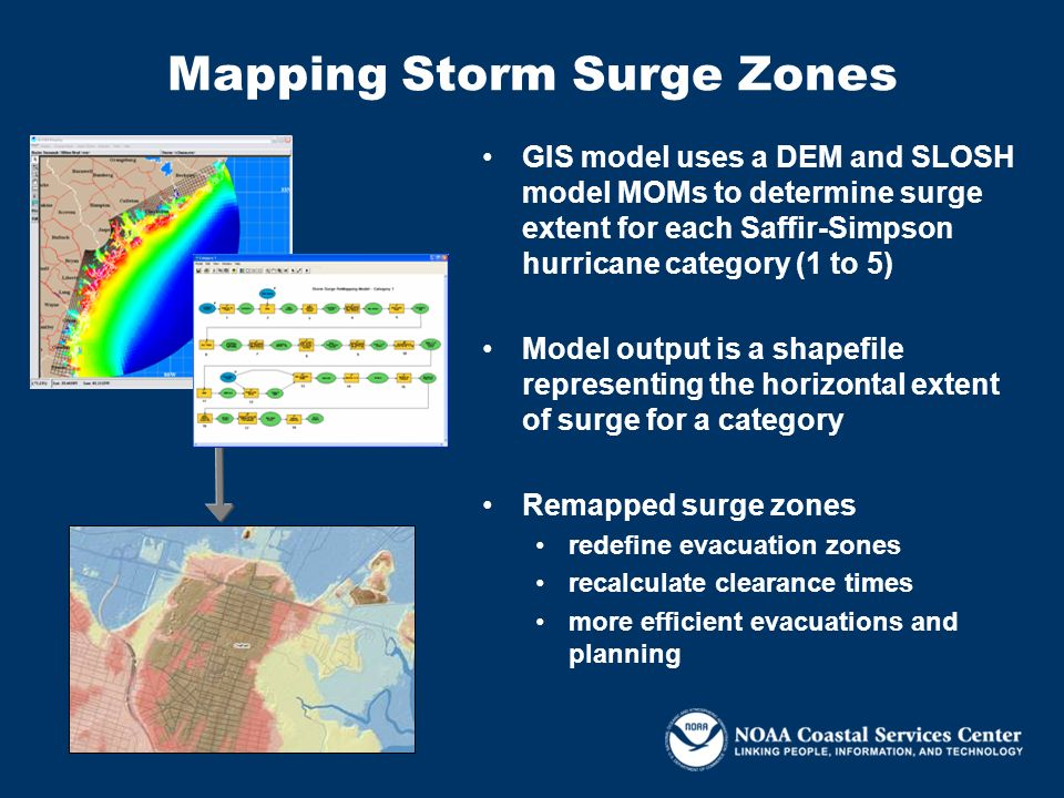 GIS model uses a DEM and SLOSH model MOMs to determine surge extent for each Saffir-Simpson hurricane category (1 to 5) Model output is a shapefile re