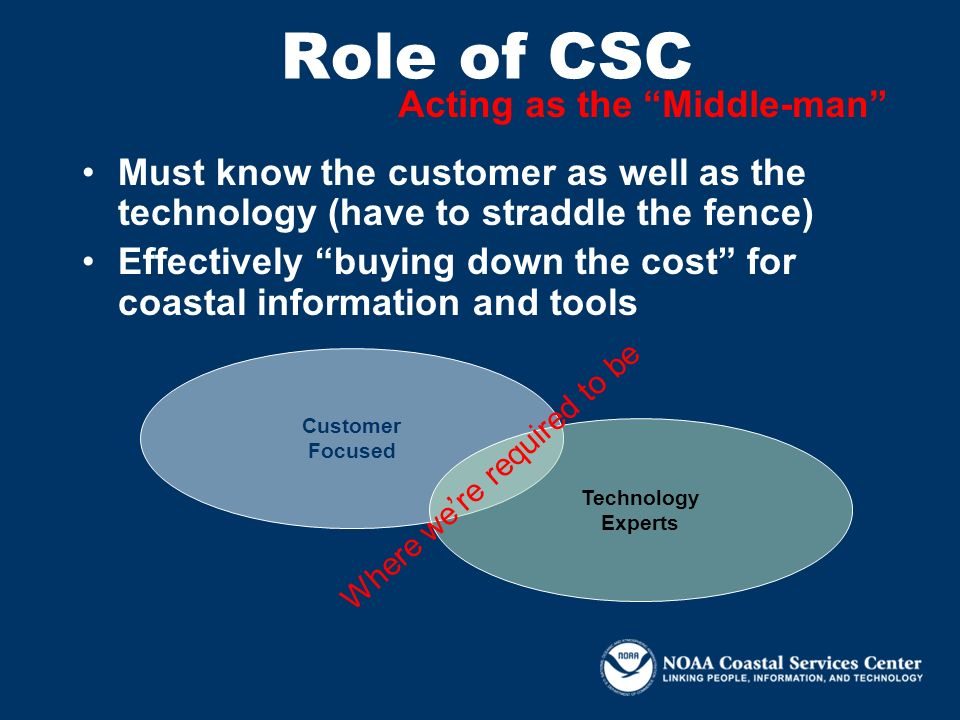Role of CSC Customer Focused Technology Experts Where were required to be Acting as the Middle-man Must know the customer as well as the technology (h