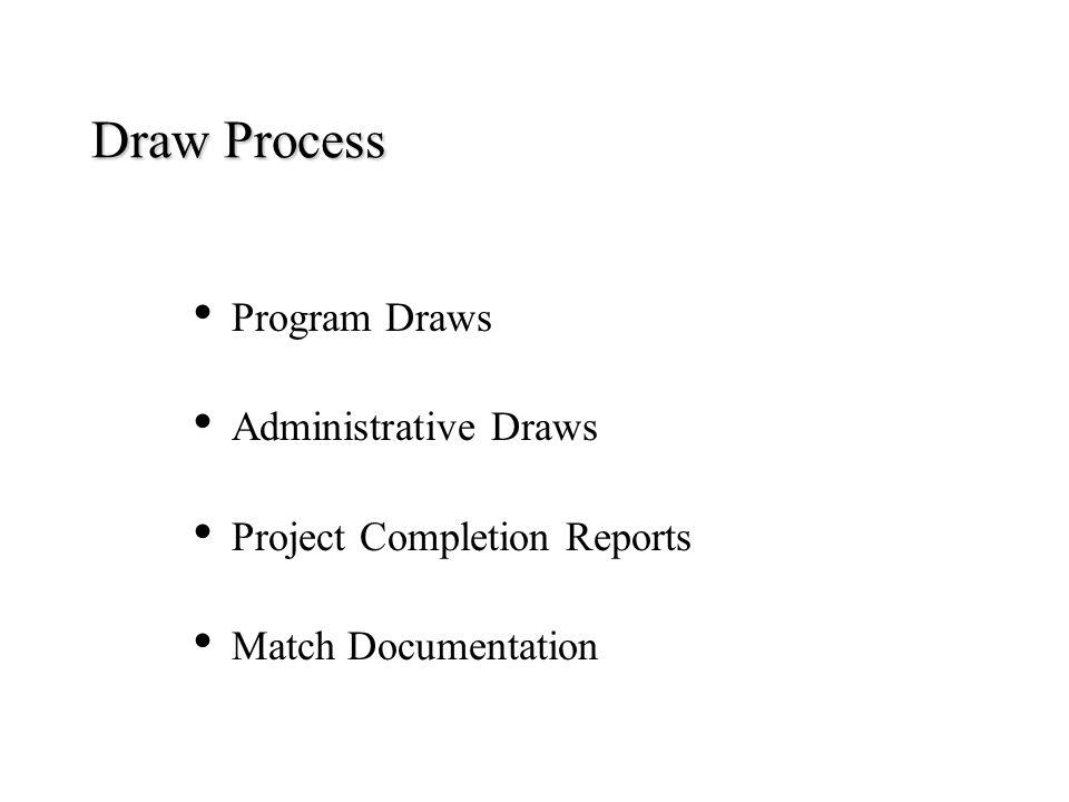 Draw Process Program Draws Administrative Draws Project Completion Reports Match Documentation