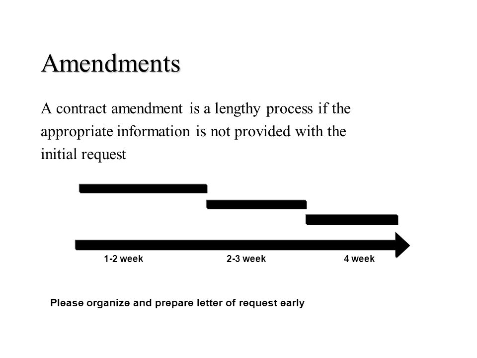 Amendments A contract amendment is a lengthy process if the appropriate information is not provided with the initial request Please organize and prepa