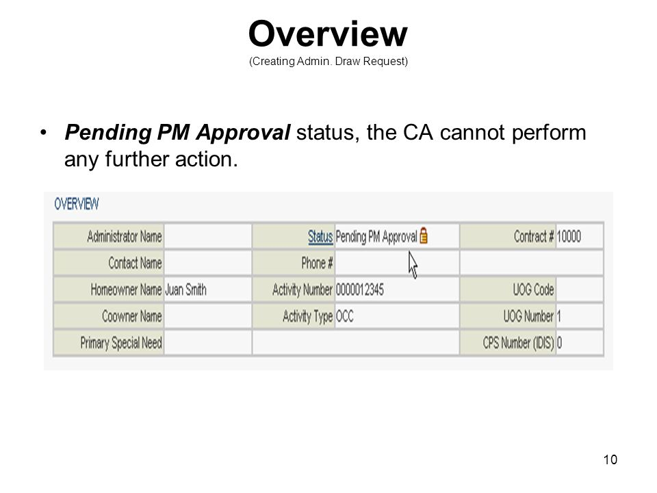 10 Overview (Creating Admin. Draw Request) Pending PM Approval status, the CA cannot perform any further action.