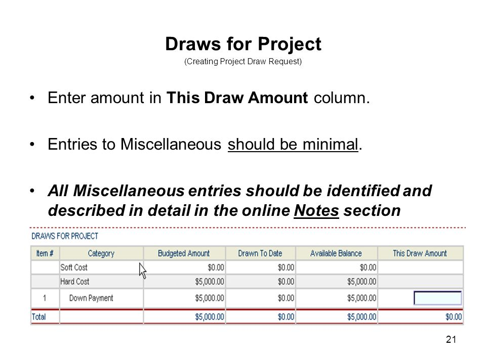 21 Draws for Project (Creating Project Draw Request) Enter amount in This Draw Amount column. Entries to Miscellaneous should be minimal. All Miscella