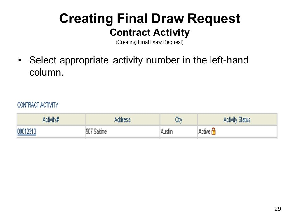 29 Creating Final Draw Request Contract Activity (Creating Final Draw Request) Select appropriate activity number in the left-hand column.