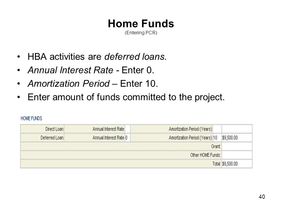 40 Home Funds (Entering PCR) HBA activities are deferred loans. Annual Interest Rate - Enter 0. Amortization Period – Enter 10. Enter amount of funds