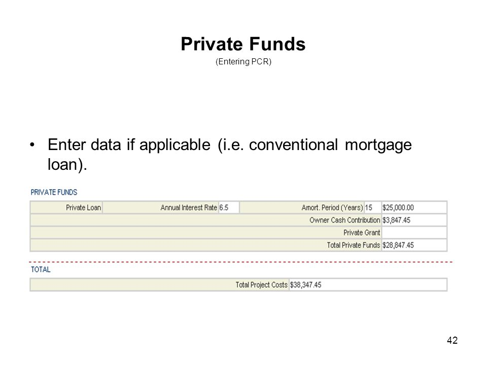 42 Private Funds (Entering PCR) Enter data if applicable (i.e. conventional mortgage loan).