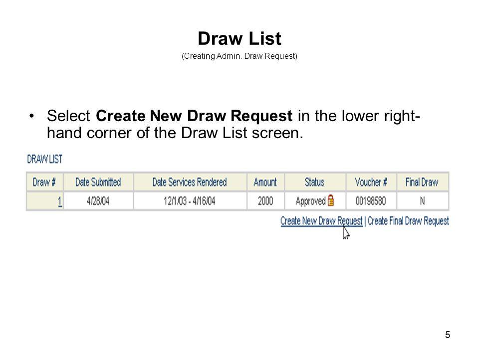 5 Draw List (Creating Admin.