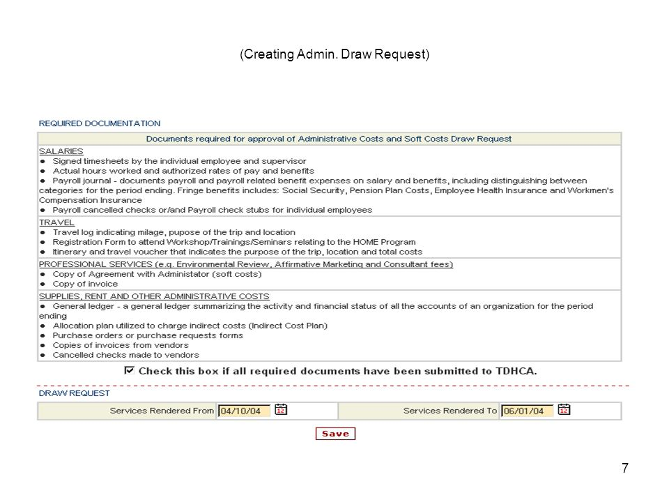 7 (Creating Admin. Draw Request)