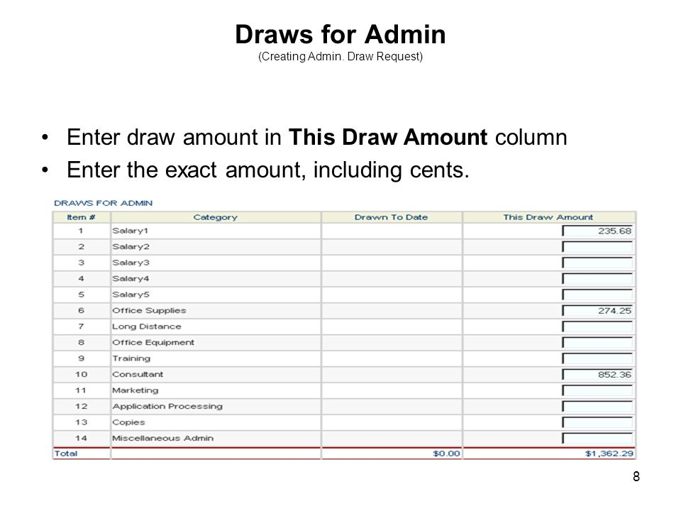 8 Draws for Admin (Creating Admin. Draw Request) Enter draw amount in This Draw Amount column Enter the exact amount, including cents.