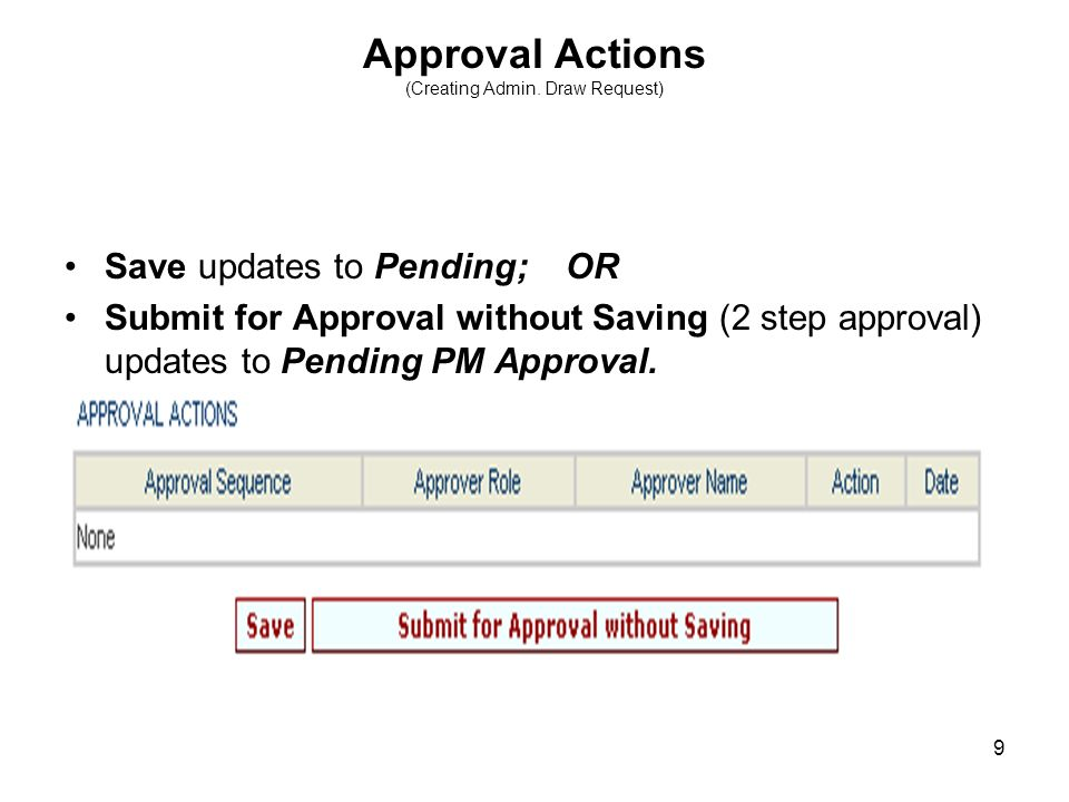 9 Approval Actions (Creating Admin.