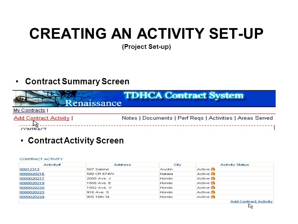 CREATING AN ACTIVITY SET-UP (Project Set-up) Contract Summary Screen Contract Activity Screen