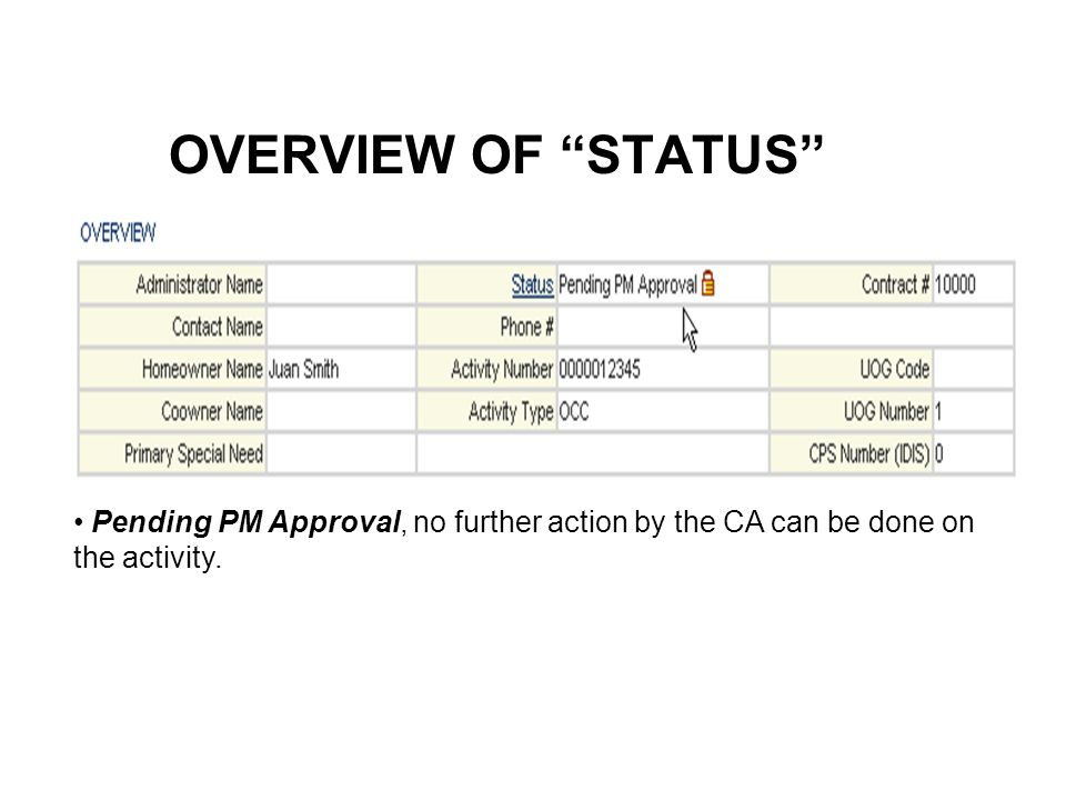OVERVIEW OF STATUS Pending PM Approval, no further action by the CA can be done on the activity.