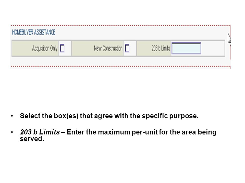Select the box(es) that agree with the specific purpose. 203 b Limits – Enter the maximum per-unit for the area being served.
