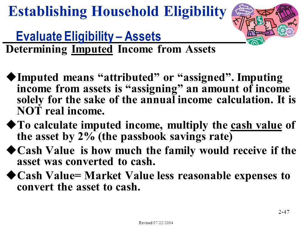 2-47 Revised 07/22/2004 Determining Imputed Income from Assets uImputed means attributed or assigned.
