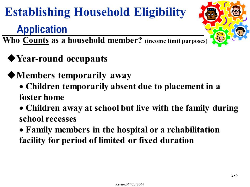 2-5 Revised 07/22/2004 uYear-round occupants uMembers temporarily away Children temporarily absent due to placement in a foster home Children away at school but live with the family during school recesses Family members in the hospital or a rehabilitation facility for period of limited or fixed duration Who Counts as a household member.