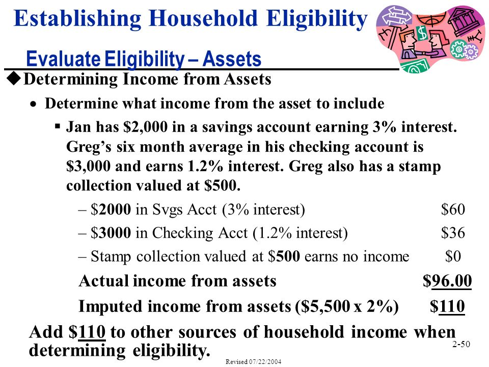 2-50 Revised 07/22/2004 Establishing Household Eligibility Evaluate Eligibility – Assets Add $110 to other sources of household income when determining eligibility.