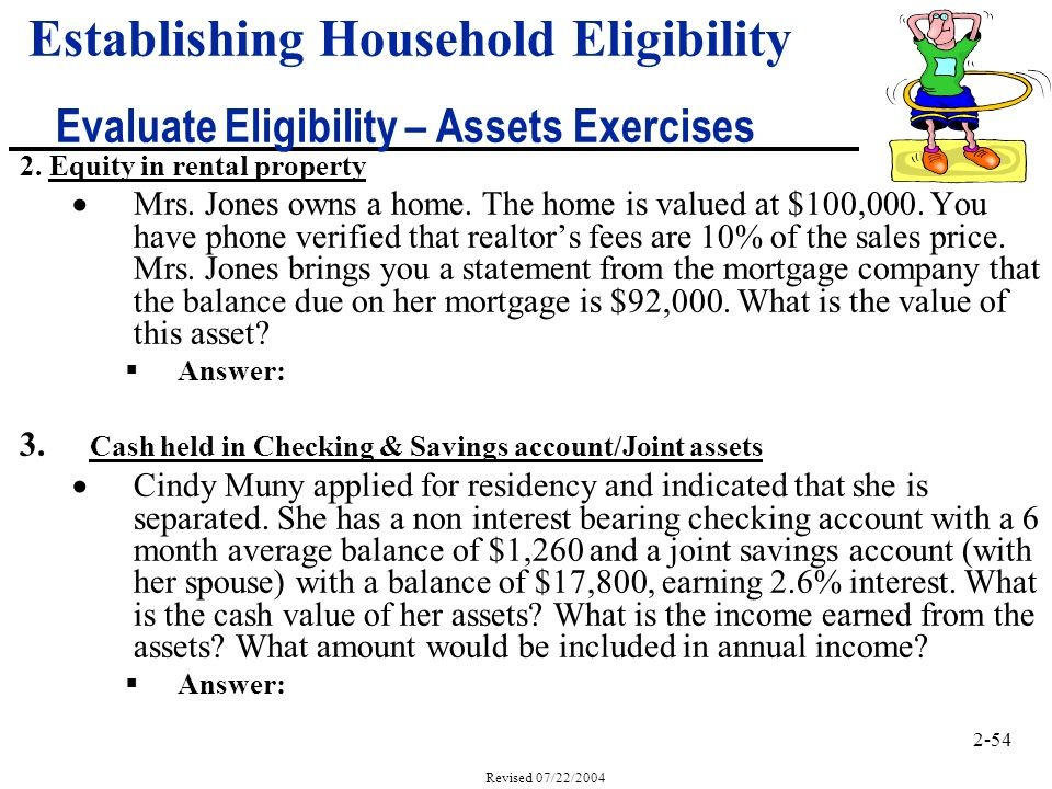 2-54 Revised 07/22/2004 2. Equity in rental property Mrs.