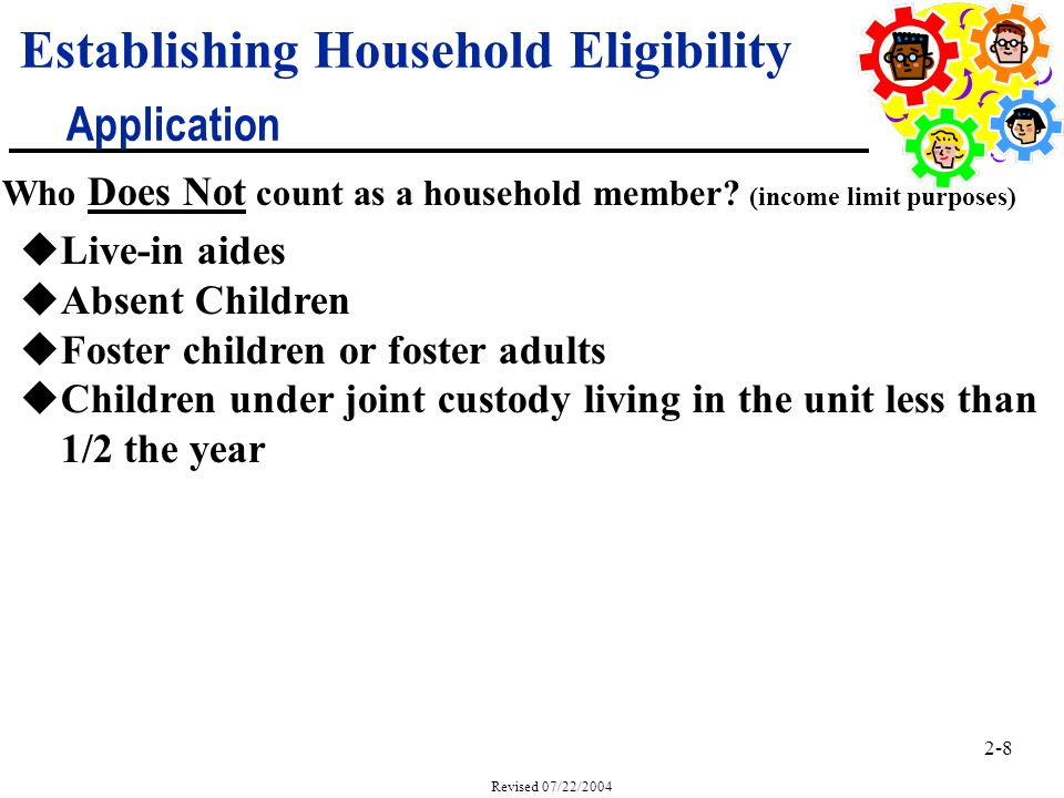 2-8 Revised 07/22/2004 Establishing Household Eligibility Application Who Does Not count as a household member.