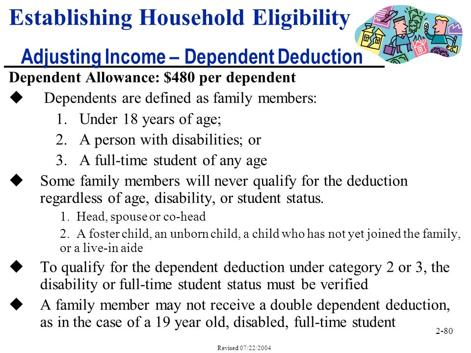 2-80 Revised 07/22/2004 Dependent Allowance: $480 per dependent u Dependents are defined as family members: 1.Under 18 years of age; 2.A person with disabilities; or 3.A full-time student of any age uSome family members will never qualify for the deduction regardless of age, disability, or student status.