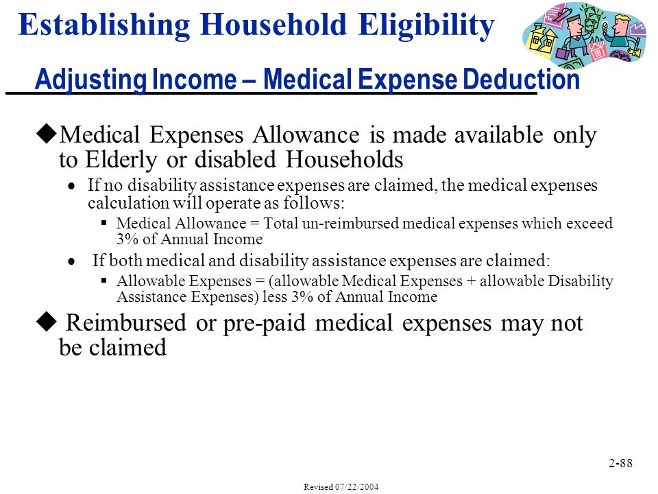 2-88 Revised 07/22/2004 uMedical Expenses Allowance is made available only to Elderly or disabled Households If no disability assistance expenses are claimed, the medical expenses calculation will operate as follows: Medical Allowance = Total un-reimbursed medical expenses which exceed 3% of Annual Income If both medical and disability assistance expenses are claimed: Allowable Expenses = (allowable Medical Expenses + allowable Disability Assistance Expenses) less 3% of Annual Income u Reimbursed or pre-paid medical expenses may not be claimed Establishing Household Eligibility Adjusting Income – Medical Expense Deduction