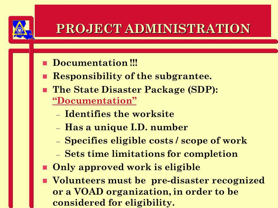 PREPAREDNESS PROJECT ADMINISTRATION n Documentation !!.