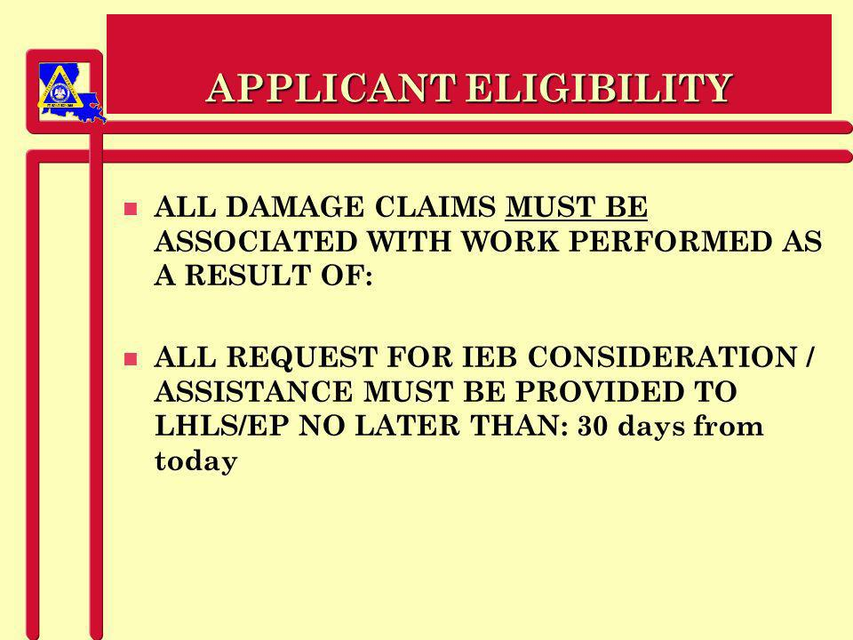 PREPAREDNESS APPEALS n Must be submitted within 30 days after notification of a decision regarding assistance.